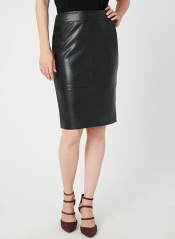 Faux Leather Pencil Skirt, Black, hi-res,  leather skirt, straight skirt