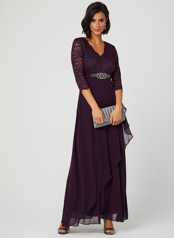 V-Neck Glitter Lace Dress, Purple, hi-res