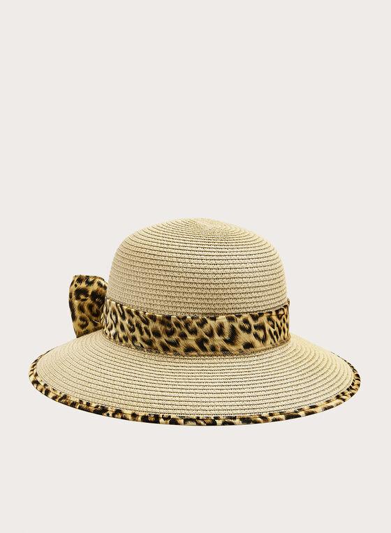 Chapeau cloche en paille et ruban motif animalier, Blanc cassé, hi-res