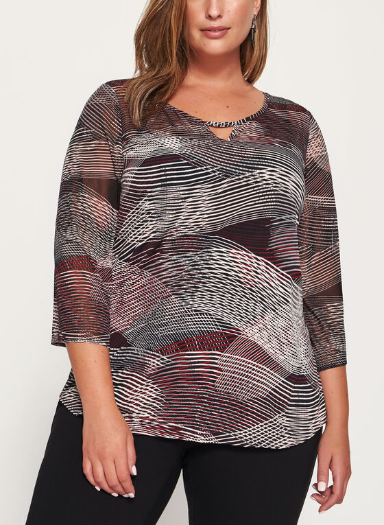 Abstract Stripe Print Jersey Top , Black, hi-res