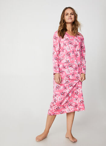 Hamilton - Floral Print Cotton Nightgown , Pink,  nightgown, flower, long sleeves, patch pocket, cotton, fall winter 2019
