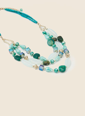 3-Row Mixed Bead Necklace, Blue,  necklace, tiered, 3 rows, beads, stones, spring summer 2020