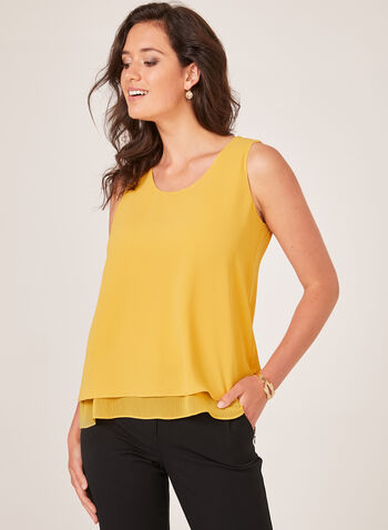 Scoop Neck Sleeveless Top, Yellow, hi-res