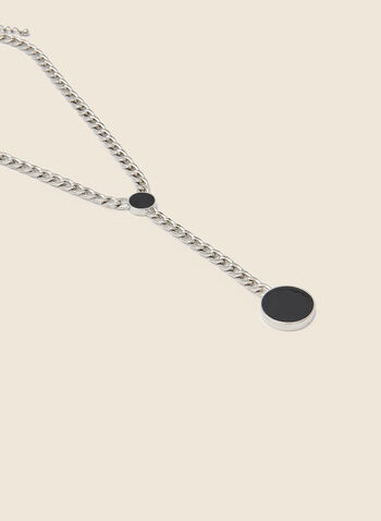 Circle Pendant Necklace, Black,  fall winter 2020, jewellery, jewelry, silver, large links, pendant, circular, holiday, holiday 2020, gift