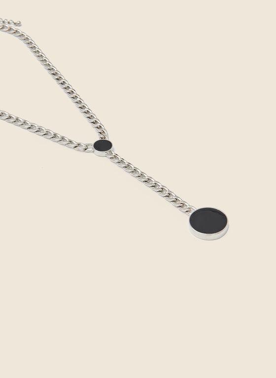 Circle Pendant Necklace, Black
