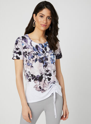 Drawstring Front T-Shirt, Blue, hi-res,  Spring 2019, short sleeves, t-shirt, tee, floral print, crystal