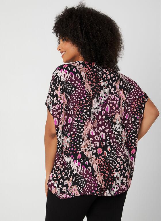 Blouse motif léopard à manches courtes, Violet, hi-res
