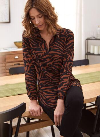Animal Print Chiffon Blouse, Brown,  Fall winter 2020, blouse, blouse, top, chiffon, long sleeves, pattern, animal, buttons, chiffon