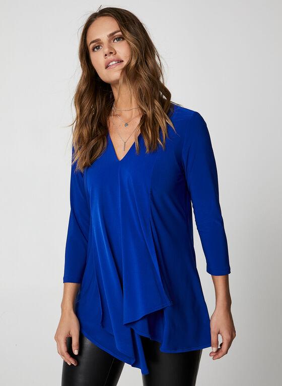 Tunique asymétrique à col V, Bleu