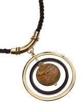 Geometric Marble Stone Cord Necklace, Black, hi-res