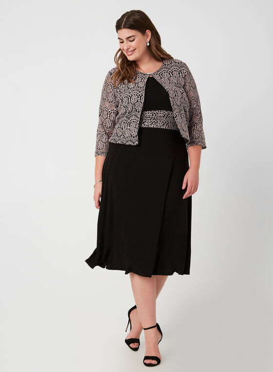 Crochet Lace Dress & Jacket, Black