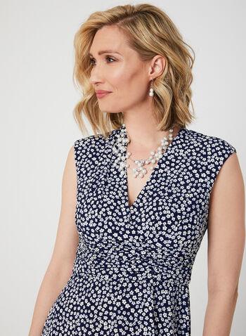 Jessica Howard - Textured Floral Print Dress, Blue,  plunging neckline, v-neck, surplice neck, day dress, sleeveless, floral, spring 2019