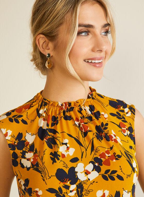 Floral Print Sleeveless Blouse, Yellow