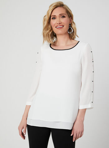 ¾ Sleeve Crepe Blouse, Off White, hi-res,  chiffon blouse, crepe top, crepe blouse, lined blouse, popover top