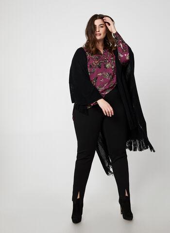 Floral Print Long Sleeve Top, Purple, hi-res,  top, floral print, long sleeves, v-neck, crepe, fall winter 2019