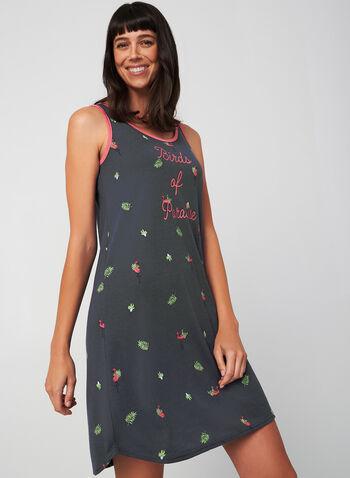 Claudel Lingerie - Chemise de nuit sans manches, Gris,  pyjamas, jaquette courte