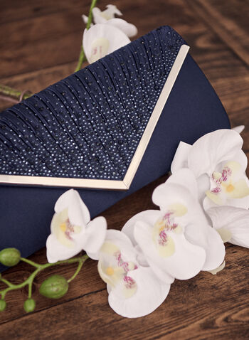 Satin Evening Clutch, Blue,  accessories, bag, handbag, clutch, evening, satin, rhinestone, metallic, flap, envelope, spring summer 2021