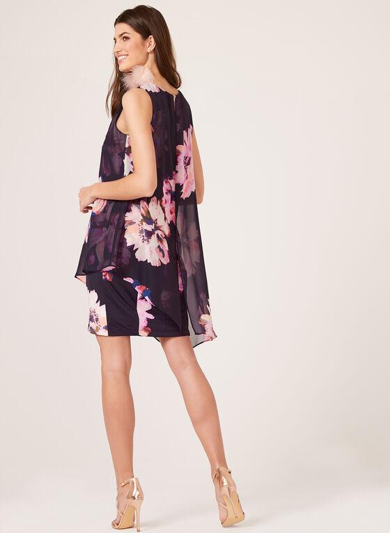 Floral Print Sleeveless Dress, Blue, hi-res