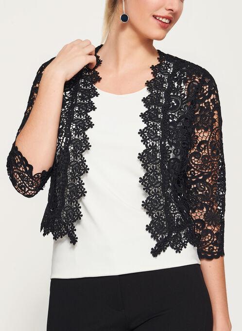 Floral Lace Cropped Blazer, Black, hi-res