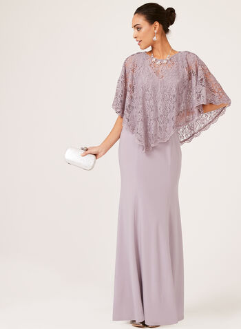 Mermaid Lace Poncho Dress, Purple, hi-res