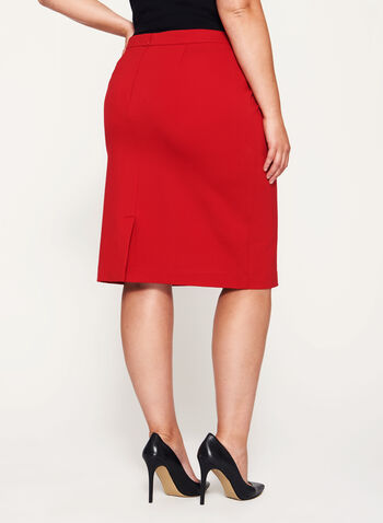 Zipper Trim Pencil Skirt, Red, hi-res