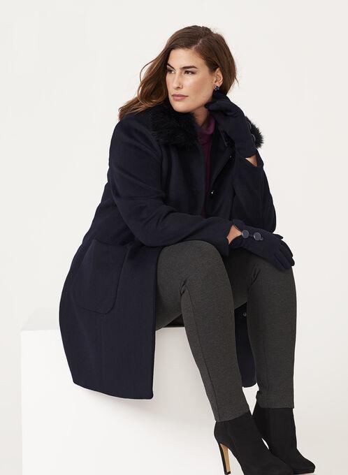 Macrona - Faux Fur Trim Wool Blend Coat, Blue, hi-res
