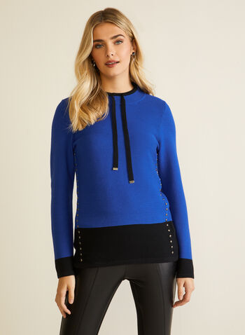 Two Tone Colour Block Pullover, Blue,  fall winter 2020, pullover, sweater, ties, tie details, knitwear, long sleeve, colour block, tunic, stud, metal, metallic