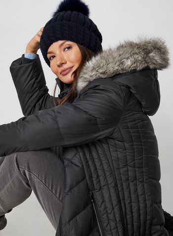 Anne Klein - Removable Hood Quilted Coat, Grey,  coat, quilted, faux fur, knit, hood, down, fall winter 2019