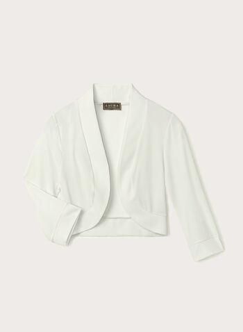 Open Front Jersey Bolero , Off White, hi-res