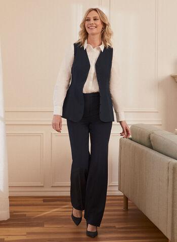 Sleeveless Button Front Vest, Blue,  made in Canada, vest, sleeveless, button front, professional, work, v neck, comfort, stretch, spring summer 2021