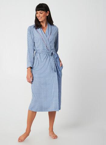 Claudel Lingerie - Peignoir imprimé, Bleu,  robe de chambre mi-longue