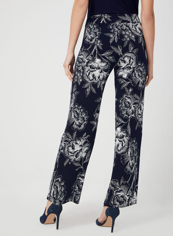 Modern Fit Floral Print Pants, Blue