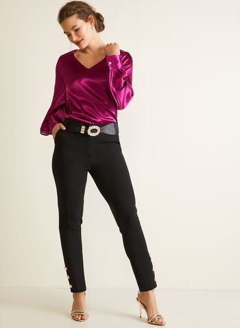 Tiered Balloon Sleeve Blouse, Purple,  top, satin, blouse, long sleeves, bubble, v-neck, fall winter 2020