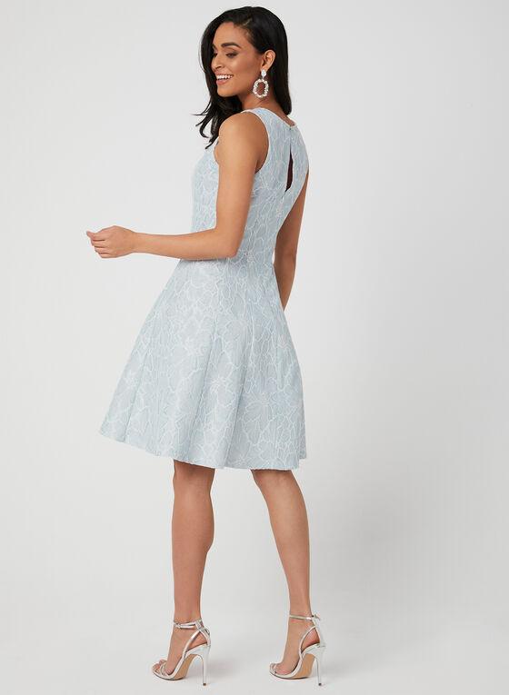 Floral Fit & Flare Dress, Blue, hi-res