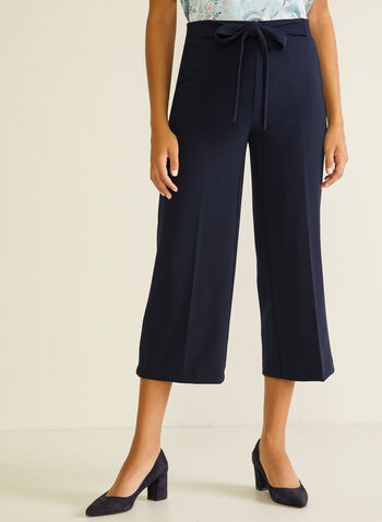 Chapter One - Tie Detail Gaucho Pants, Blue,  pants, gaucho, tie, pleats, wide leg, crepe, spring summer 2020