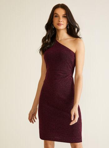Robe métallisée à épaule dénudée, Violet,  automne hiver 2020, robe, épaule dénudée, sans manches, asymétrique, drapé, métallique, métallisé, robe de soirée, robe cocktail, drapé