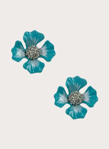 Clous d'oreilles à forme de fleurs, Bleu, hi-res