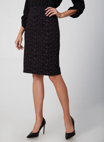 Jacquard Knit Straight Skirt, Purple,  skirt, straight, Canada, pull on, jacquard knit, fall 2019, winter 2019