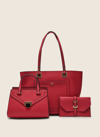 Faux-Leather Handbag Set, Pink,  spring summer 2020, faux leather finish, gold details, tote, purse, clutch