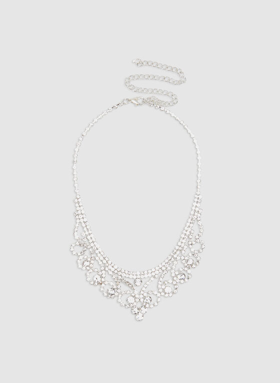 Crystal Bib Necklace, Silver, hi-res
