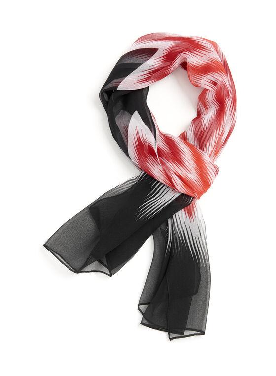 Foulard rectangulaire à motif zig zag, Noir, hi-res