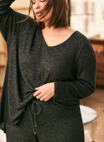 3/4 Sleeve Sweater Knit Tunic, Grey,  top, tunic, knit, sweater, round neck, heather, fall winter 2020