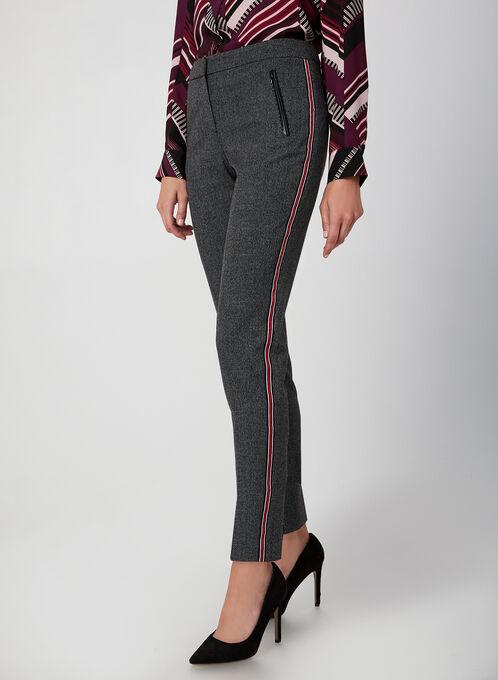 Pantalon coupe moderne à bandes contrastantes, Noir