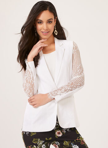 Elena Wang – Semi Fitted Lace Blazer, White, hi-res
