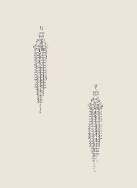 Cascade Chandelier Earrings, Silver