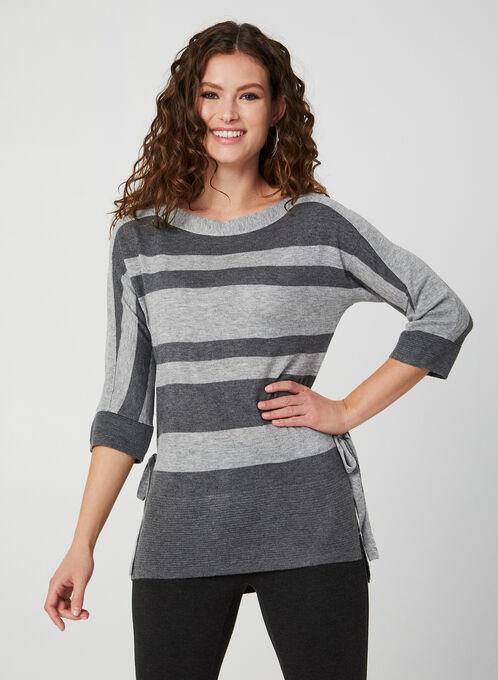 Striped Dolman Sleeve Sweater, Grey