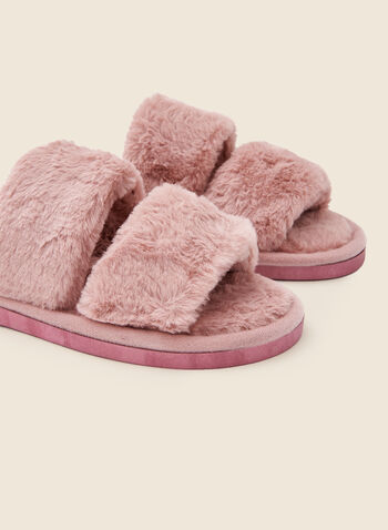 Plush Strap Top Slippers, Pink,  holiday, gift, holiday 2020, slippers, strap, plush, fall winter 2020