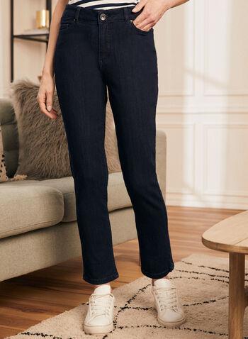 Jeans à jambe droite et taille haute , Bleu,  jeans, jambe droite, automne hiver 2020, 5 poches, ganses