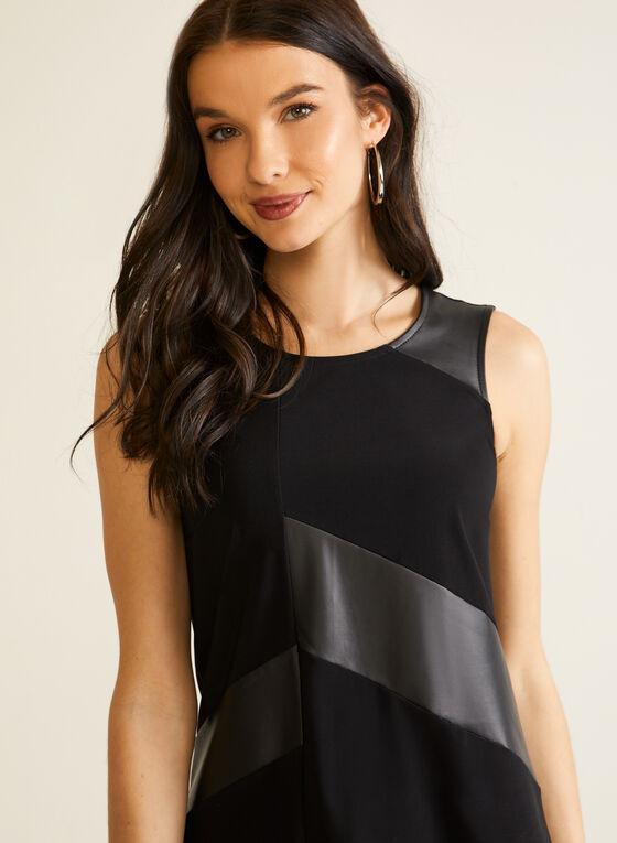 Sleeveless Pleather Jersey Top, Black