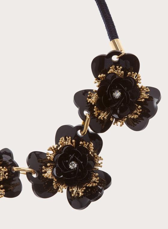 Collier en perles et pierres à motif fleurs et cordon, Noir, hi-res